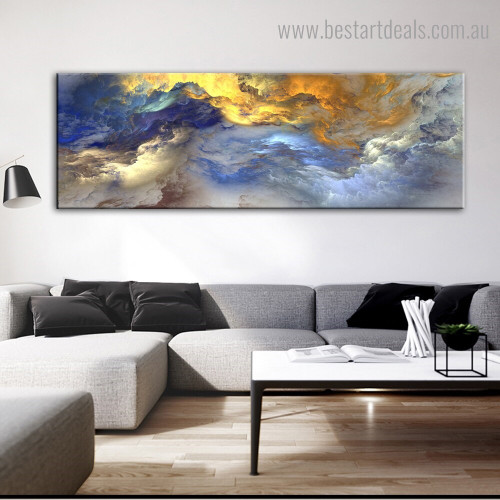 Golden Clouds Abstract Modern Framed Painting Photo Canvas Print for Room Wall Outfit