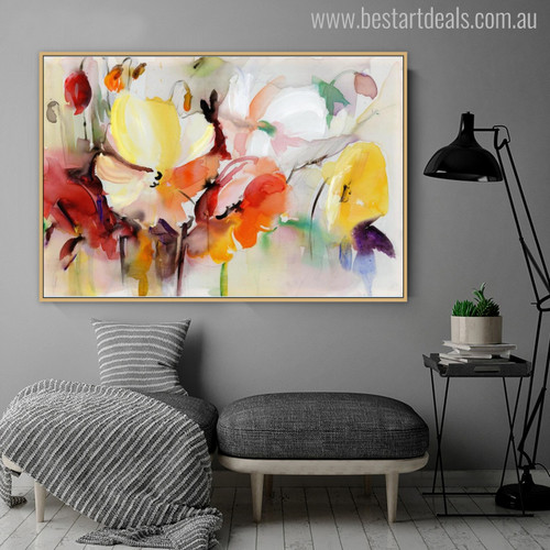 Gaudy Poppies Flower Painting Canvas Print