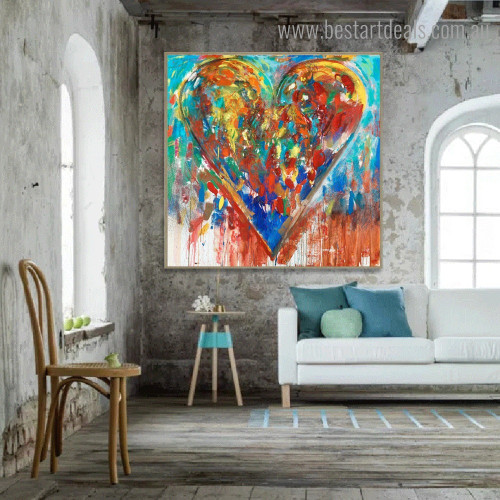 Dapple Heart Abstract Watercolor Framed Artwork Image Canvas Print for Room Wall Adornment