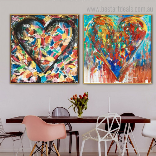 Motley Hearts Abstract Watercolor Framed Artwork Portrait Canvas Print for Room Wall Assortment