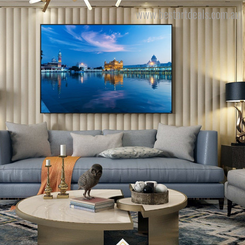 Golden Temple Religious Modern Framed Painting Portrait Canvas Print for Room Wall Getup