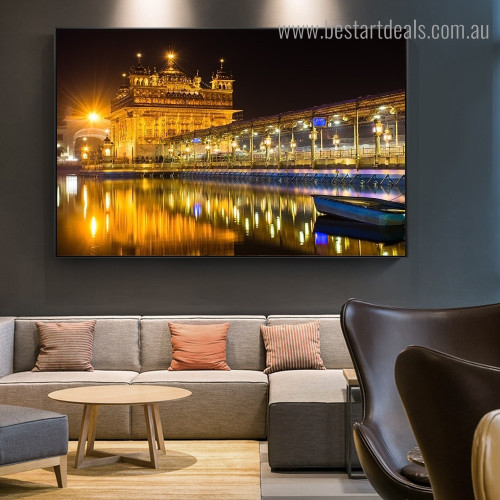 Golden Temple Nightscape Religious Modern Framed Painting Pic Canvas Print for Room Wall Getup