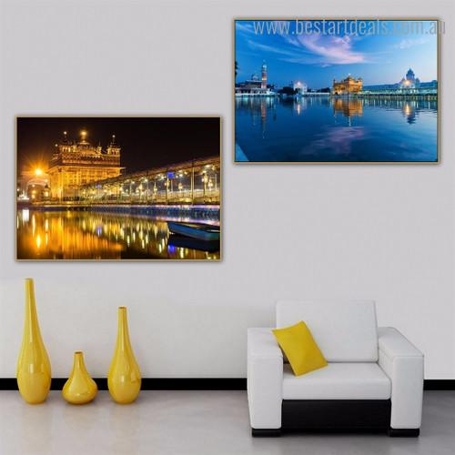 The Harmindar Sahib Religious Modern Framed Artwork Picture Canvas Print for Room Wall Equipment