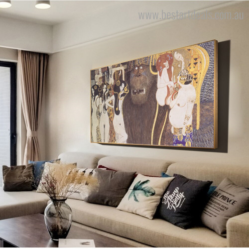 The Beethoven Frieze Klimt Reproduction Framed Artwork Pic Canvas Print for Room Wall Onlay