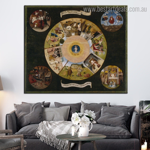 Seven Deadly Bosch Reproduction Framed Artwork Portrait Canvas Print for Room Wall Decoration