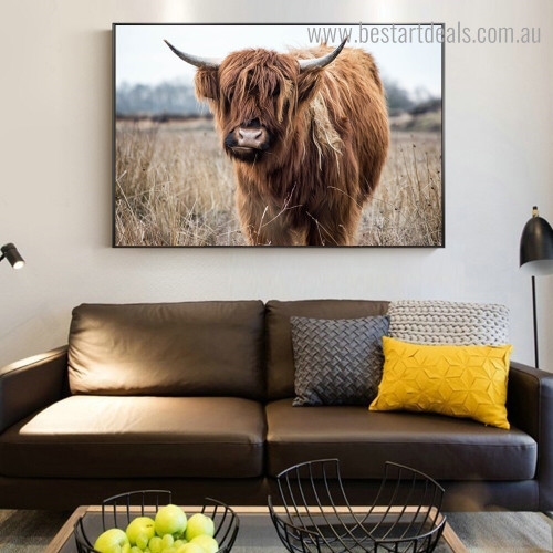 Highland Cow Animal Framed Modern Artwork Picture Canvas Print for Room Wall Outfit