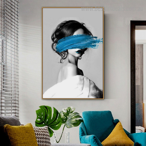 Blue Paint Girl Abstract Fashion Modern Framed Painting Picture Canvas Print for Room Wall Decoration