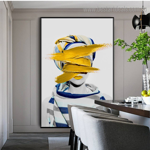 Yellow Paint Girl Abstract Fashion Modern Framed Painting Pic Canvas Print for Room Wall Finery