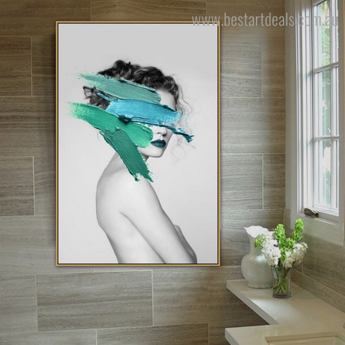 Cyan Paint Girl Abstract Fashion Modern Framed Artwork Photo Canvas Print for Room Wall Flourish