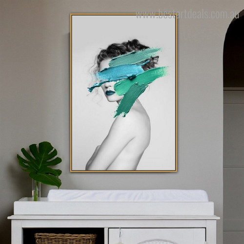 Turquoise Paint Lady Abstract Fashion Modern Framed Artwork Image Canvas Print for Room Wall Decor