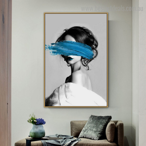 Blue Paint Face Abstract Fashion Modern Framed Artwork Pic Canvas Print for Room Wall Assortment