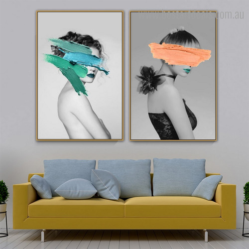 Girl Paint Abstract Figure Framed Painting Image Canvas Print for Room Wall Getup