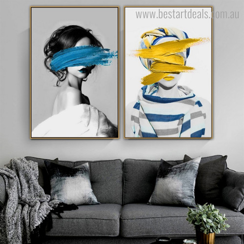 Dapple Paint Face Abstract Figure Framed Painting Photo Canvas Print for Room Wall Onlay