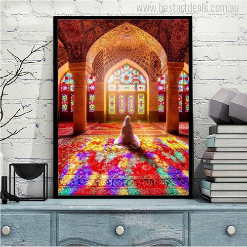 Nasir Al Mulk Mosque Muslim Pilgrims Picture Print for Home Decoration