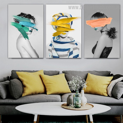 Girl Colorific Paint Abstract Figure Framed Painting Image Canvas Print for Room Wall Getup