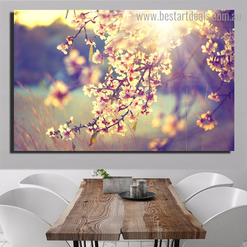 Sakura Flowers Landscape Nature Framed Painting Picture Canvas Print for Room Wall Decor