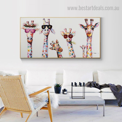 Giraffe Family Animal Graffiti Framed Painting Photo Canvas Print for Room Wall Garnish