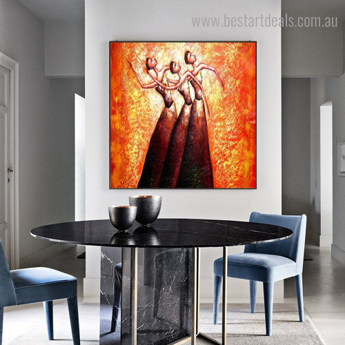 Three Dancer Abstract Modern Framed Artwork Portrait Canvas Print for Room Wall Adornment
