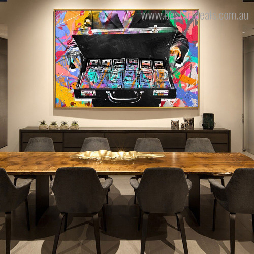 Money Abstract Graffiti Framed Painting Picture Canvas Print for Room Wall Getup