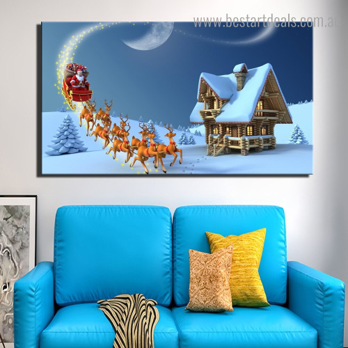 Santa Claus Animated Kids Religious Framed Painting Portrait Canvas Print for Room Wall Disposition