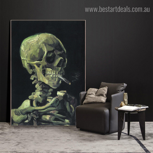 Skeleton with Cigarette Van Gogh Reproduction Framed Artwork Photo Canvas Print for Room Wall Ornament