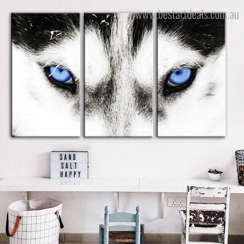 Siberian Husky Animal Modern Framed Painting Picture Canvas Print for Room Wall Decor