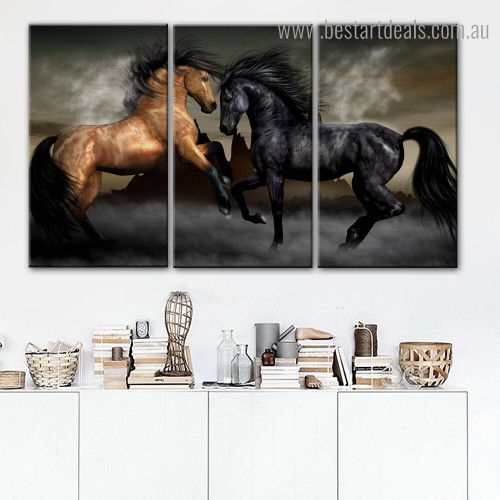 Two Running Horses Animal Nature Framed Painting Photo Canvas Print for Room Wall Garnish