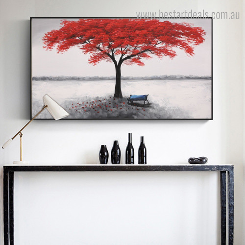 Red Foliage Tree Abstract Landscape Framed Painting Picture Canvas Print for Room Wall Garnish