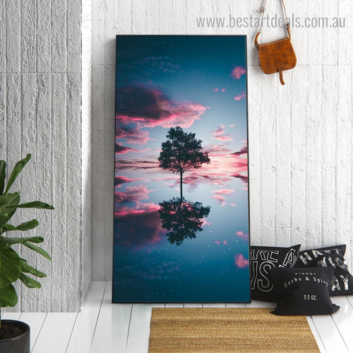 Reflection in Lake Landscape Nature Framed Painting Portrait Canvas Print for Room Wall Outfit