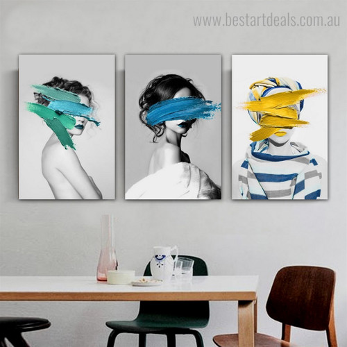 Motley Damsels Abstract Figure Fashion Framed Painting Pic Canvas Print for Room Wall Assortment