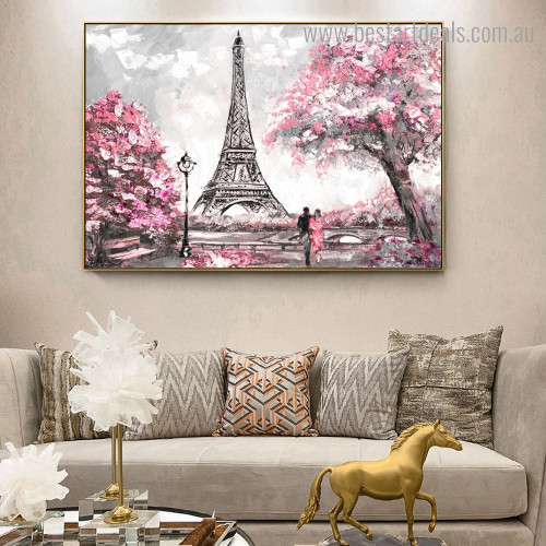 View of Paris Abstract Cityscape Modern Framed Artwork Image Canvas Print for Room Wall Finery