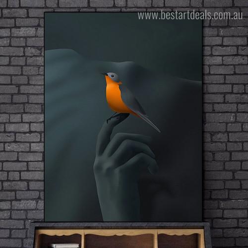 Bird on Fingertips Abstract Bird Graffiti Framed Painting Photo Canvas Print for Room Wall Decor