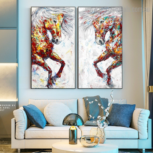 Two Half Horses Abstract Graffiti Framed Painting Portrait Canvas Print for Room Wall Moulding