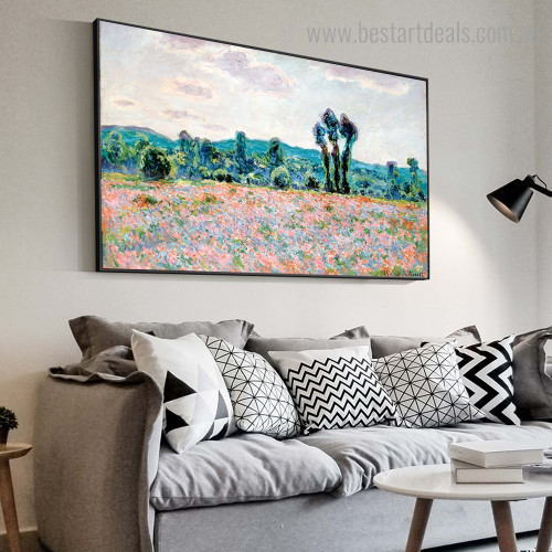Poppy Field landscape Framed Painting Photograph Canvas Print for Room Wall Finery