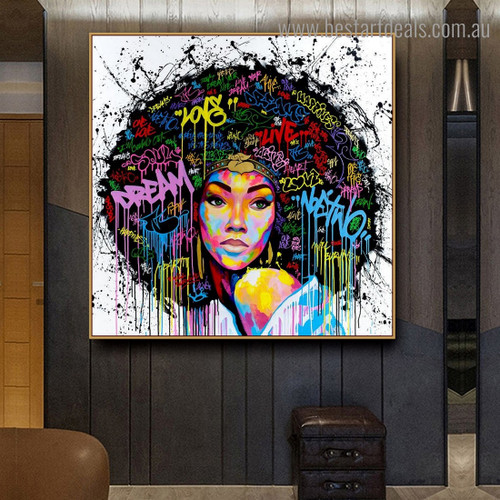 African Girl Face Abstract Graffiti Framed Artwork Photo Canvas Print for Room Wall Onlay