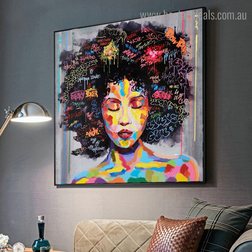 African Wench Face Abstract Graffiti Framed Artwork Pic Canvas Print for Room Wall Decoration