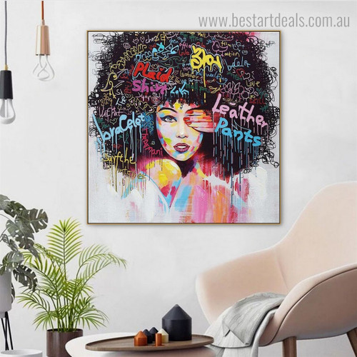 Modern African Girl Abstract Graffiti Framed Artwork Picture Canvas Print for Room Wall Equipment