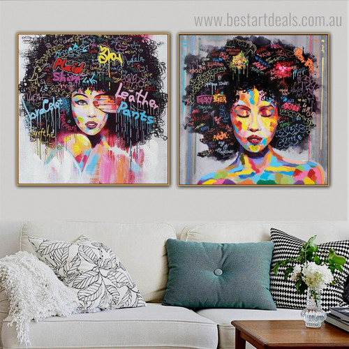 Colorful African Women Abstract Graffiti Framed Painting Image Canvas Print for Room Wall Garnish