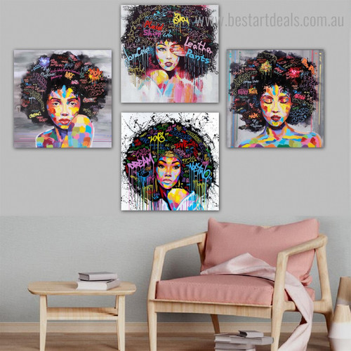 Calico Ladies Face Abstract Graffiti Framed Painting Pic Canvas Print for Room Wall Garniture