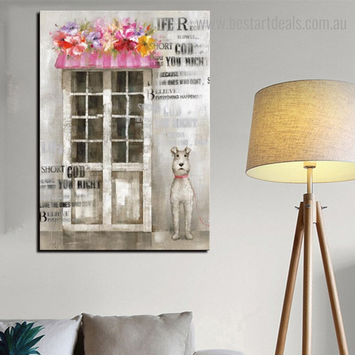 Pet Dog Animal Framed Painting Image Canvas Print for Room Wall Disposition