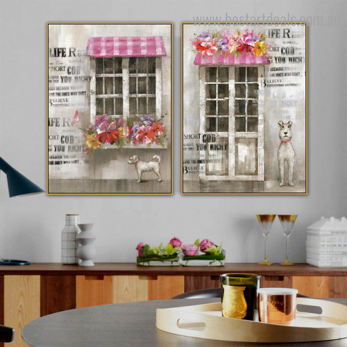Cute Dogs Animal Framed Painting Photograph Canvas Print for Room Wall Decoration