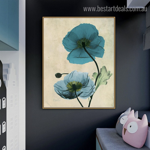 Turquoise Poppy Abstract Floral Framed Artwork Picture Canvas Print for Room Wall Finery