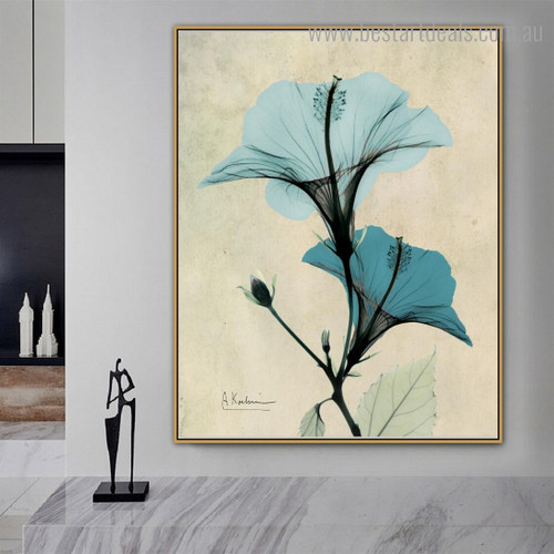 Turquoise Hibiscus Abstract Floral Framed Artwork Portrait Canvas Print for Room Wall Finery