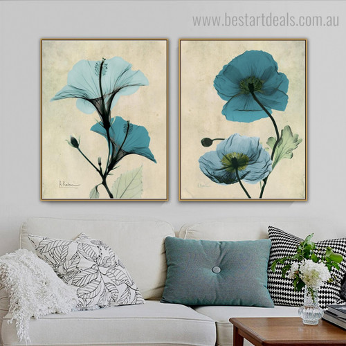 Poppy and Hibiscus Abstract Floral Framed Painting Image Canvas Print for Room Wall Onlay