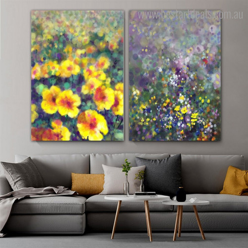 Garden of Blooms Abstract Botanical Framed Painting Picture Canvas Print for Room Wall Getup