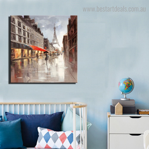 Tower Abstract City Impressionist Modern Framed Painting Picture Canvas Print for Room Wall Onlay