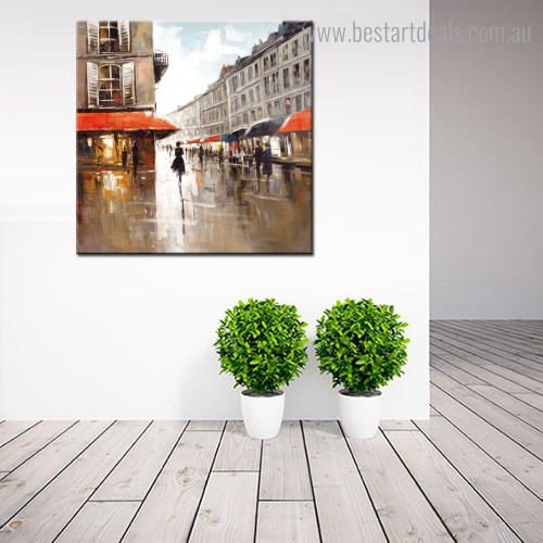 Cityscape Abstract Impressionist Modern Framed Artwork Photograph Canvas Print for Room Wall Decor