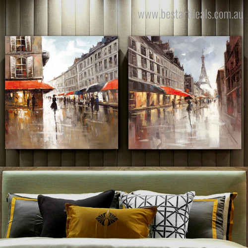 City View Abstract Impressionist Modern Framed Artwork Photo Canvas Print for Room Wall Decoration
