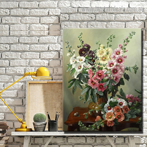 Hollyhocks Still Life Floral Framed Artwork Photo Canvas Print for Room Wall Decor