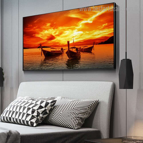 Three Boats Nature Modern Framed Portraiture Image Canvas Print for Room Wall Adornment